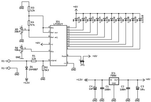 Schéma zapojení indikátoru napětí autobaterie