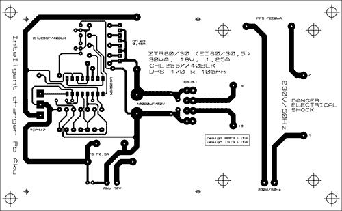 Obrazec plošných spojů intelůigentní nabíječky PB akumulátorů