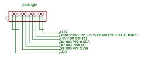 Zapojení konektoru podsvícení SHARP LQ12S56