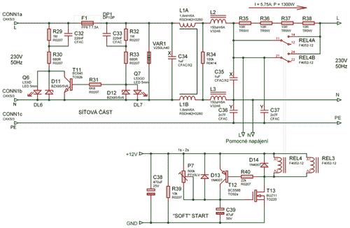 Schéma síťové části zdroje