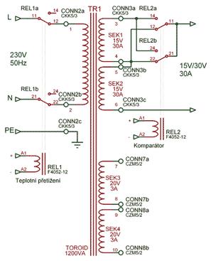 Schéma toroidního transformátoru