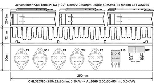 Nákres chladiče s ventilátory + osazení