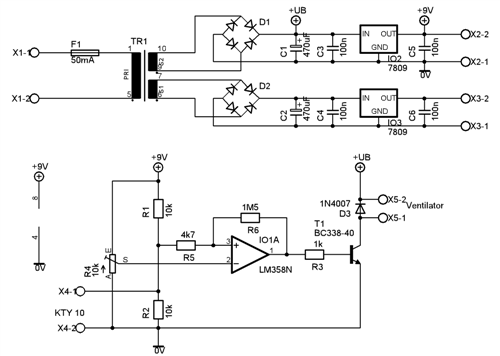 Schema zapojení spínače ventilátoru a zdroje pro měřicí moduly