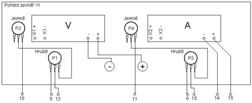 Připojovací schema prvků čelního panelu