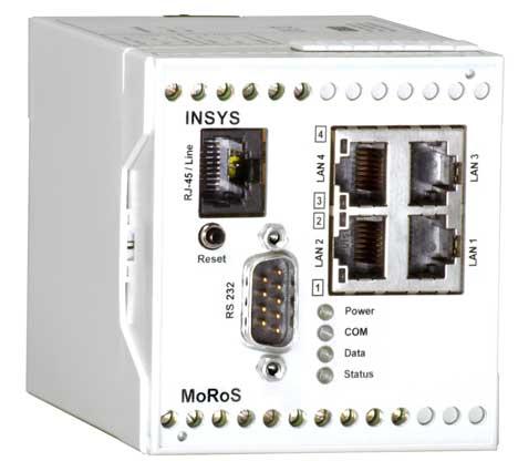 Obr. 2. Přístroj Moros připojí k Ethernetu prostřednictvím telekomunikačních sítí i několik PLC