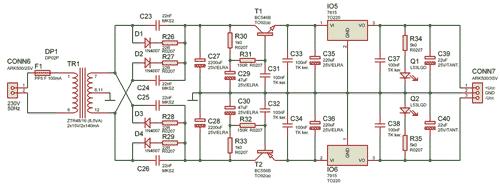 Schéma zapojení ? Symetrický  napájecí zdroj ?15V