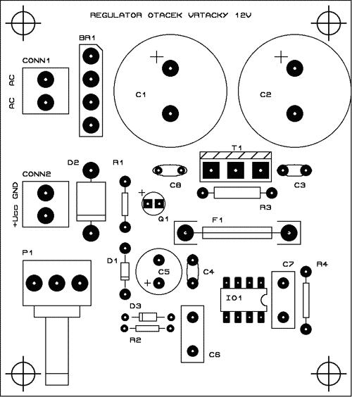 Obr. 3 - Osazení DPS regulátoru otáček