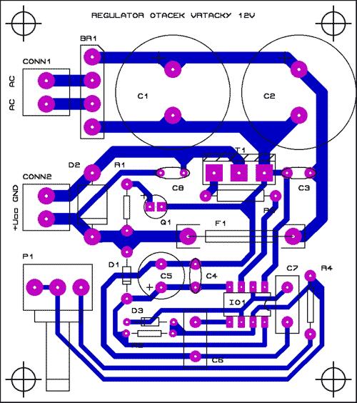 Obr. 4 - Náhled DPS včetně osazení regulátoru otáček