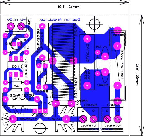 Obr. 2 - Návrh desky plošných spojů (TOP+BOTTOM)