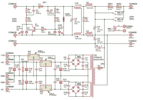 Schéma síťové části spínaného zdroje L4970A