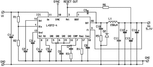 Základní zapojení obvodů řady L497x