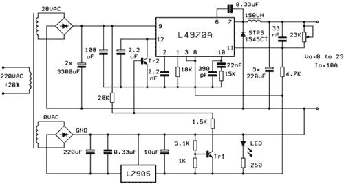 Regulace napětí od 0V zavedením záporné reference -5V