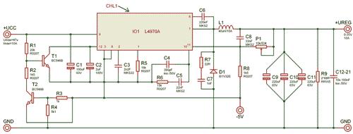 Schéma spínaného zdroje s obvodem L4970A