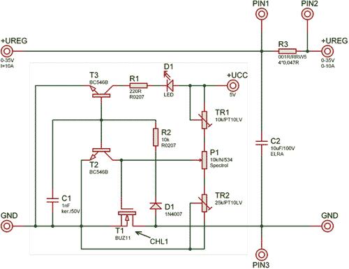 Schéma zapojení elektronické proudové pojistky