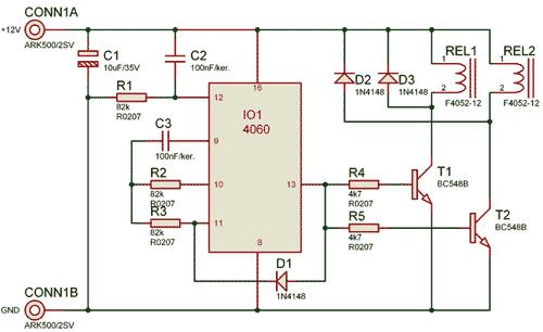 Schéma zapojení obvodu zpožděného připojení
