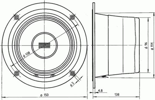 Rozměry reproduktoru ARP-150-00