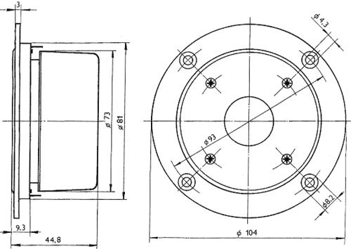 Rozměry reproduktoru ARV-104-64/4