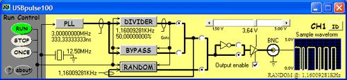 Prostředí obslužného software USBpulse100 s nastavenou vystupní frekvencí 1,16kHz a spuštěným generátorem náhodných pulzů