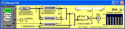 Prostředí obslužného software USBpulse100 s nastavenou vystupní frekvencí 1,16kHz s přehledně znázorněnou signálovou cestou