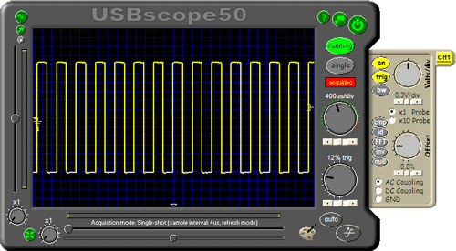 výstupní průběh změřený pomocí USBscope50