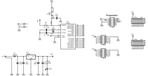 Schéma zapojení 20pinového StarterKitu
