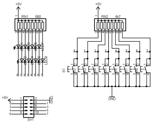 Schéma zapojení desky tlačítek a LED