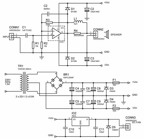 Obr. 2 - Schéma zapojení zesilovače